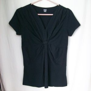 a.n.a Black V-neck Top Gathered Front Detail